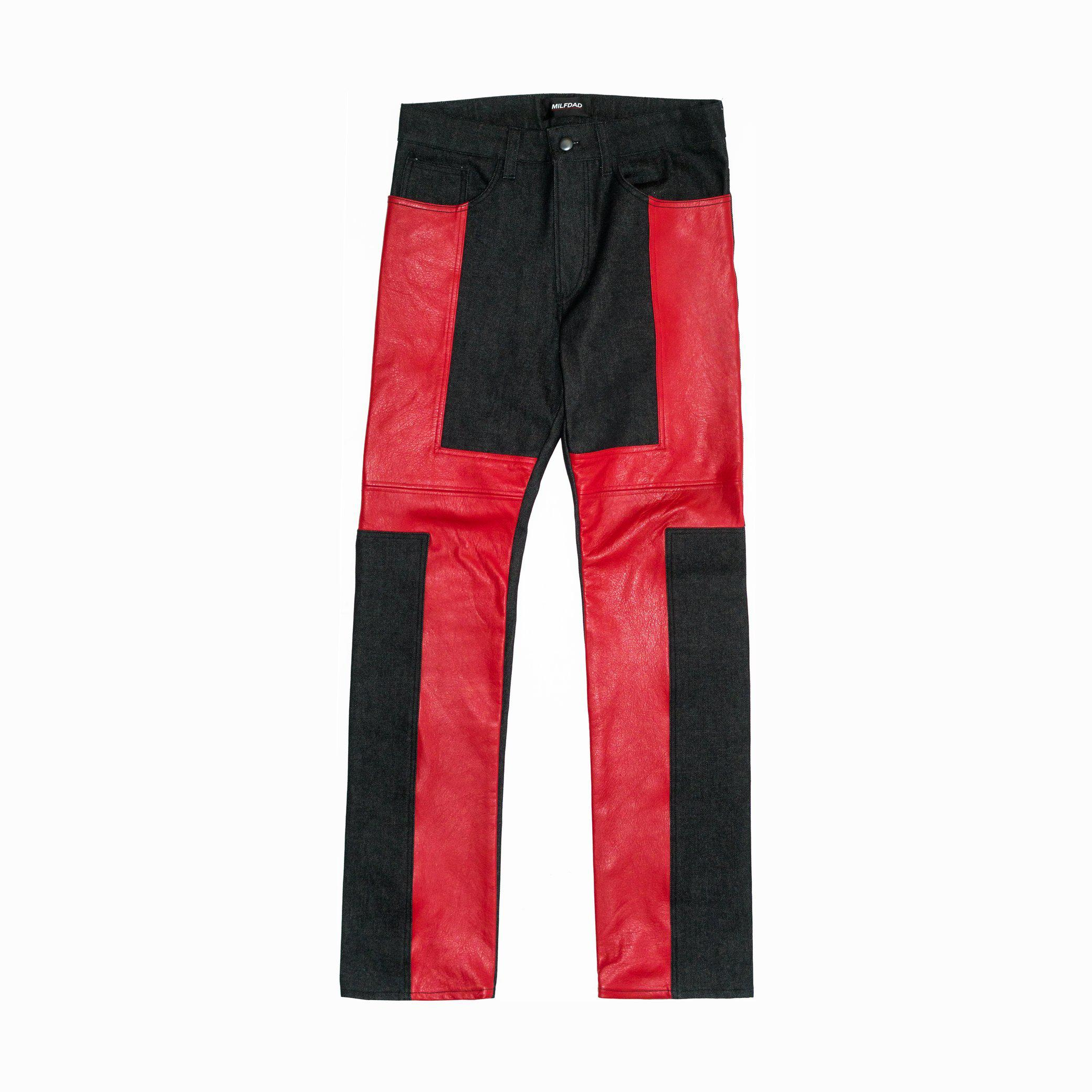 LEATHER DETAIL DENIM - BLACK/RED (MADE TO ORDER)-MILFDAD