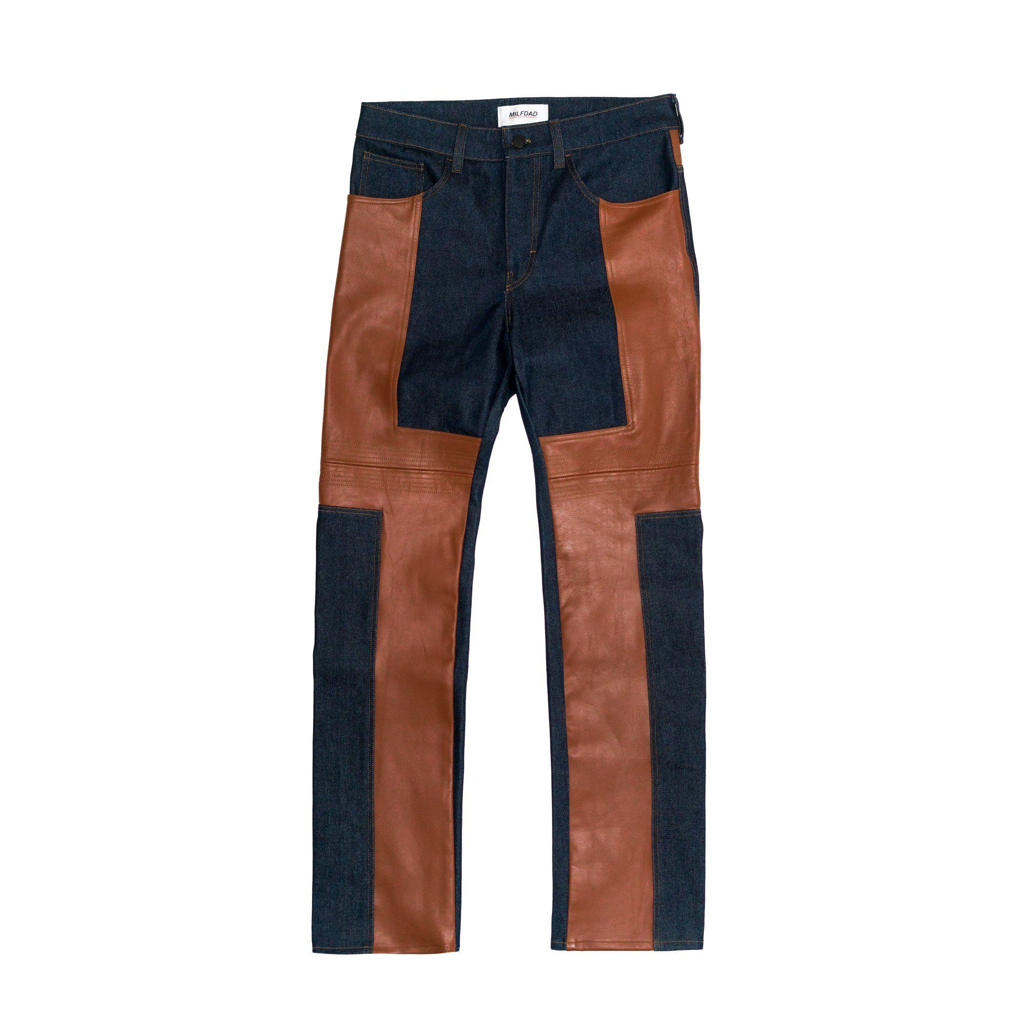 LEATHER DETAIL DENIM - INDIGO/BROWN (MADE TO ORDER)-MILFDAD