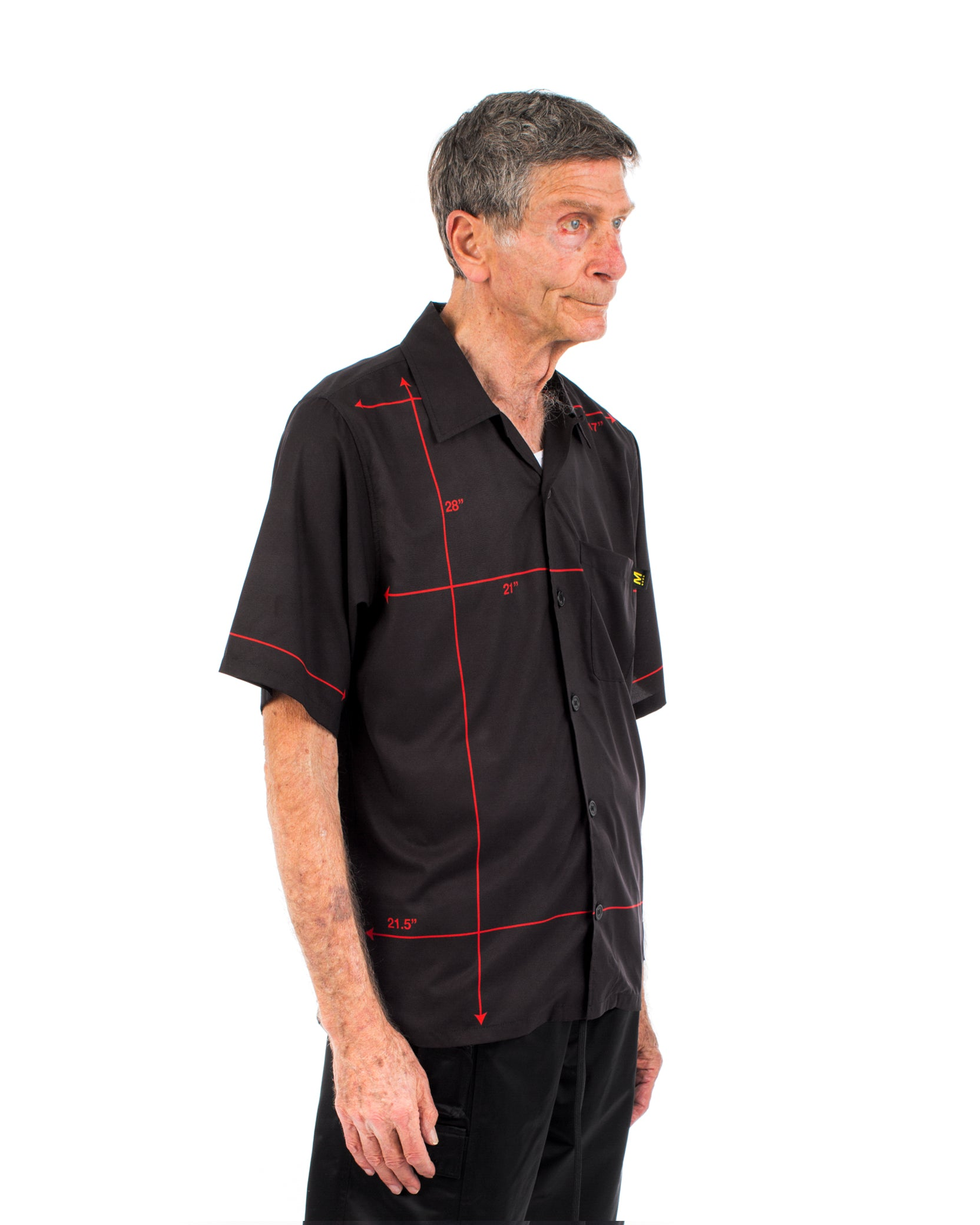 DIAGRAM BUTTON SHIRT - BLACK / RED