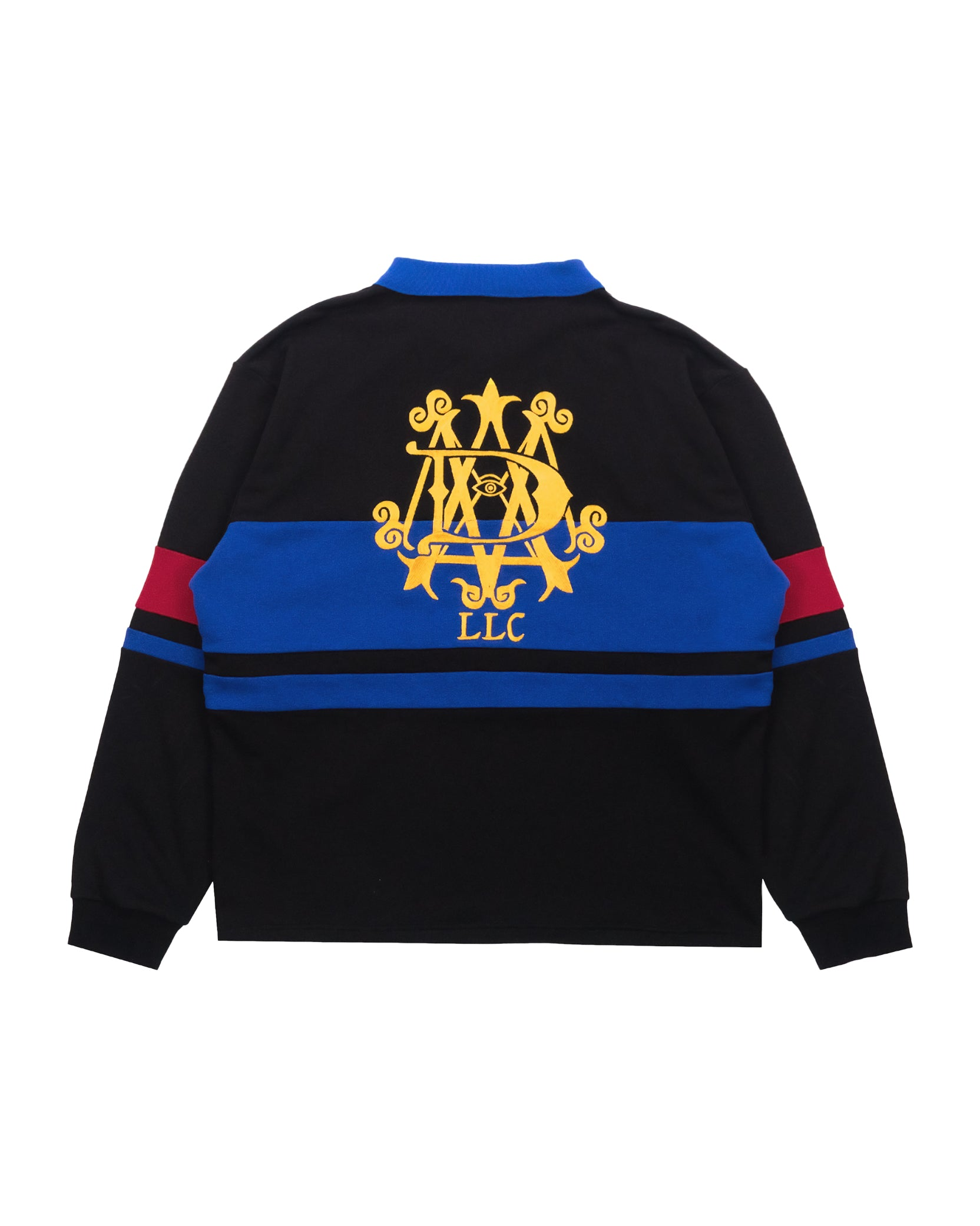 STRIPED RUGBY SHIRT - BLACK / BLUE / RED