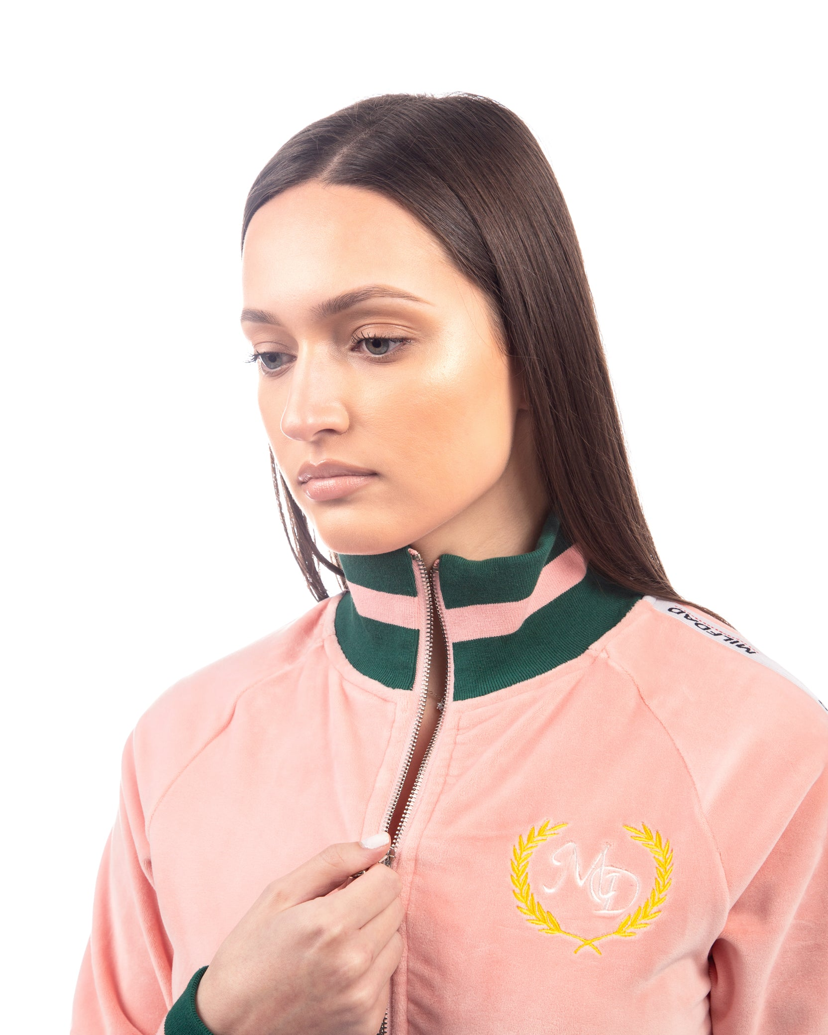 VELOUR CROPPED JACKET - PINK