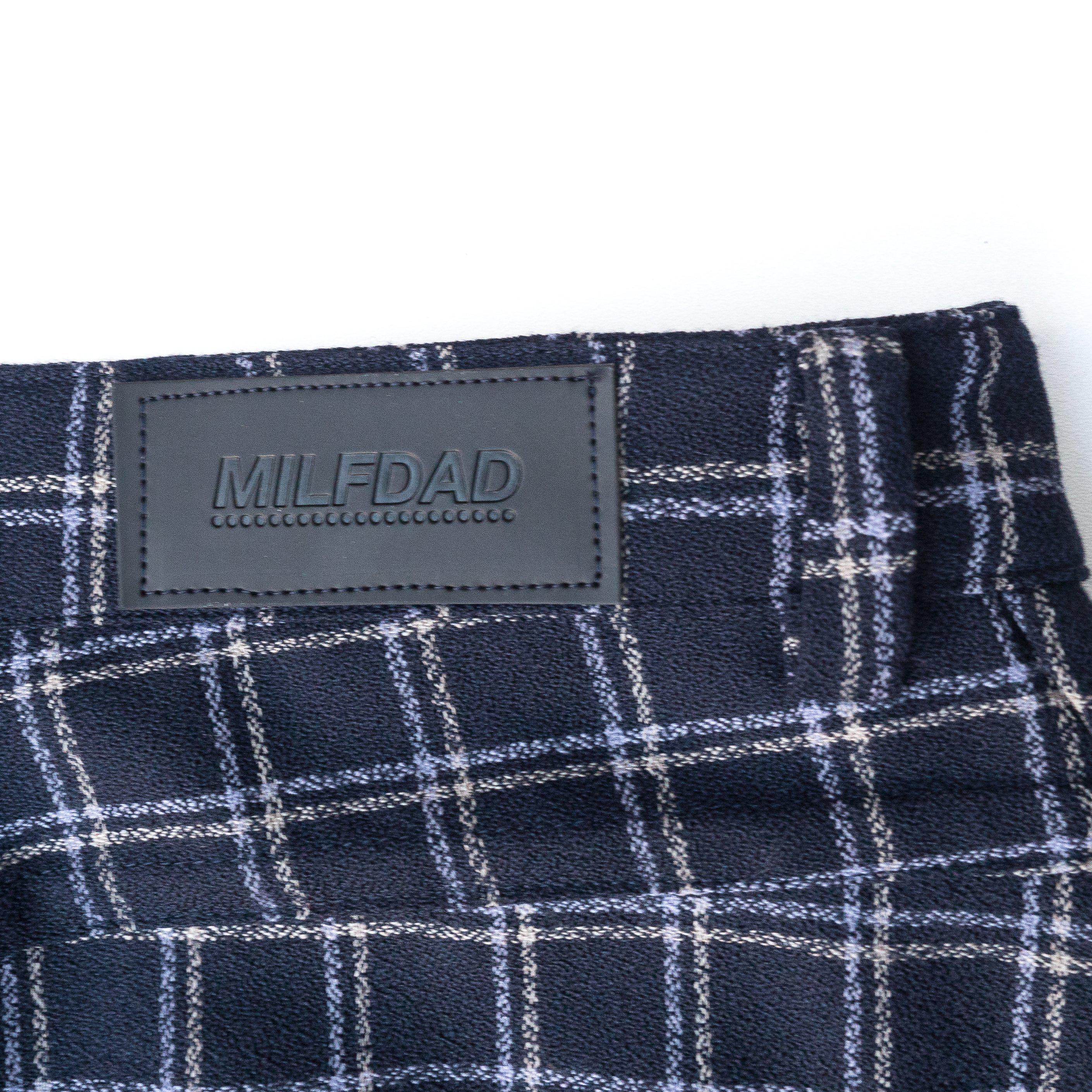 PLEATED CUFF TROUSER - BLUE/CHECK-MILFDAD