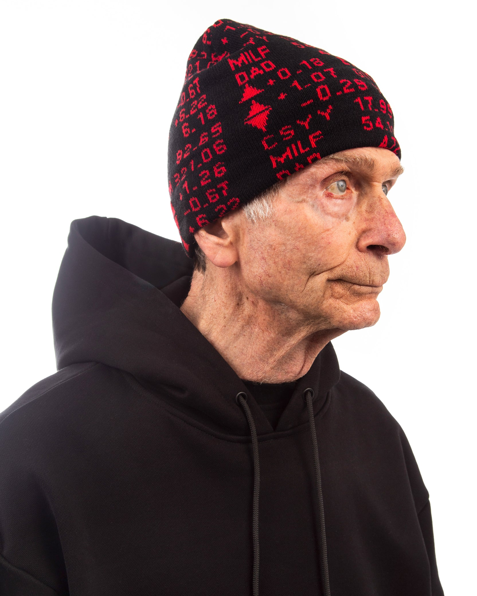 STOCK TICKER BEANIE - BLACK / RED