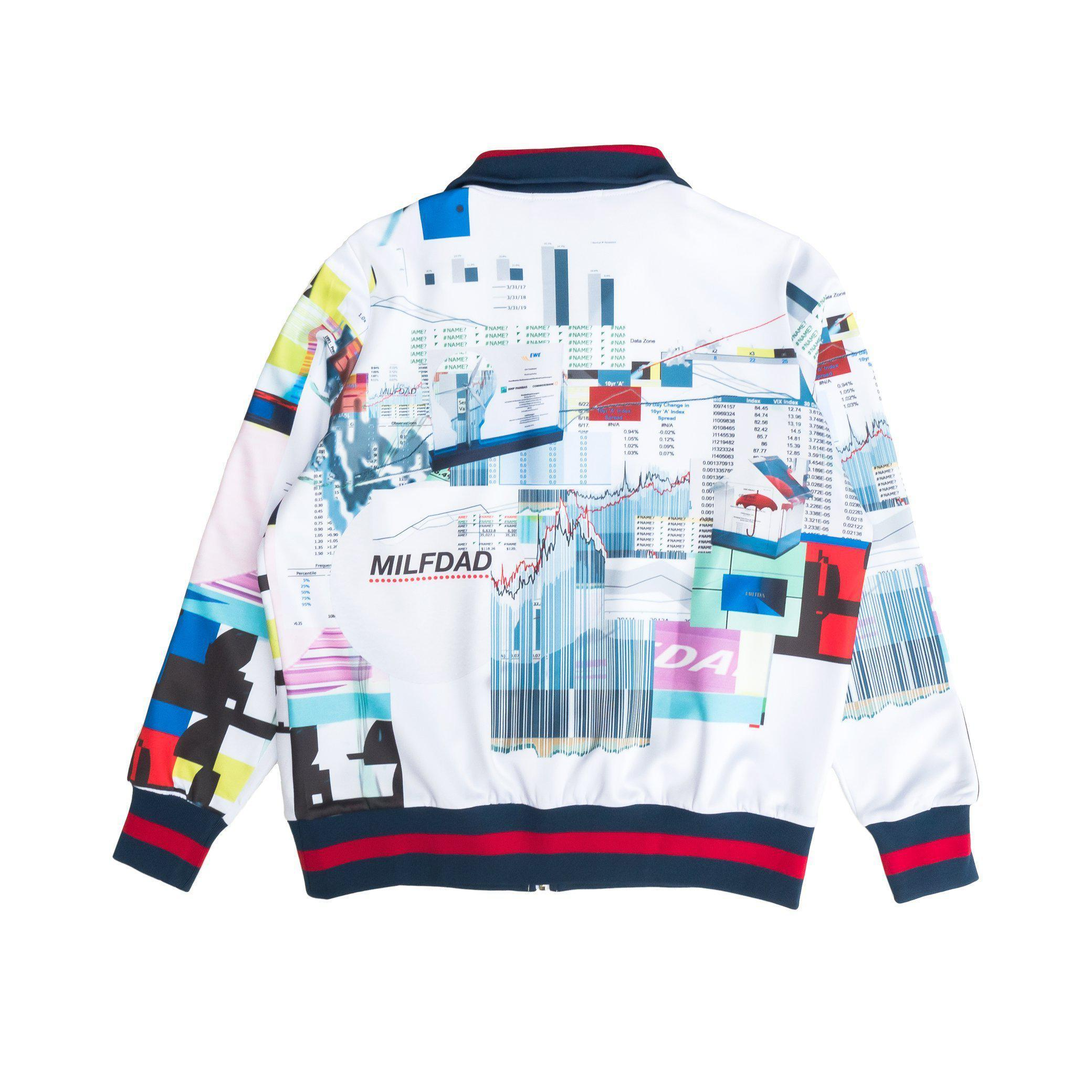 TRACK JACKET - SPREADSHEET/WHITE-MILFDAD