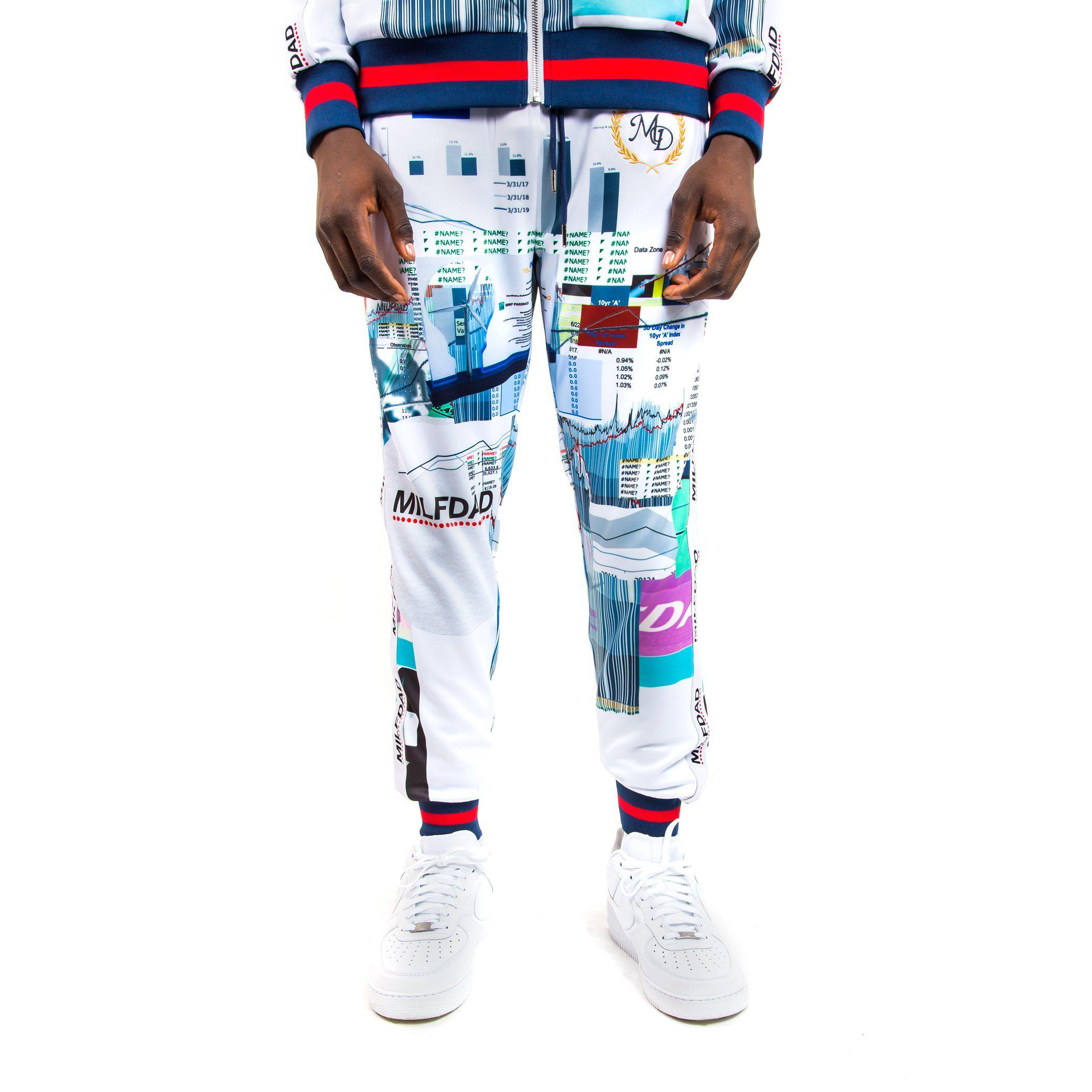 TRACK PANT - SPREADSHEET/WHITE-MILFDAD