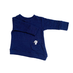 Asymmetric Pullover - Quilted Deep Blue