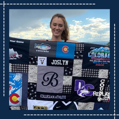 Brooke with College Volleyball T-shirt Quilt by Replay Quilts