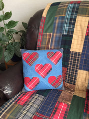 Plaid Flannel Memory Quilt - Heart - Denim Memory Pillow  - 2018 Quilt Gallery Cover Photo