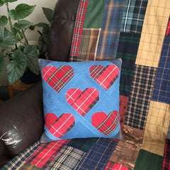 5 Hearts Memory Pillow + Clothing Memory Quilt in Chair by Replay Quilts