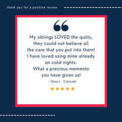 Replay Quilts 5 star Customer Review for Clothing Memory Quilts