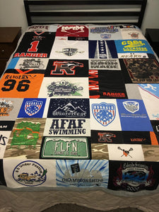 Lacrosse - Swim - Team - T-shirt - on - bed - Quilt - Julie - Moss - Replay - Quilts