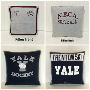 T-shirt Memory Pillows showing Pillow front and back by Moss Re-Creations
