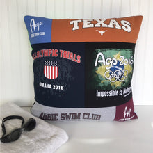 Load image into Gallery viewer, Texas Swim Team T-shirt Pillow Cover by Moss Re-Creations - 24 X 24 Pillow Size
