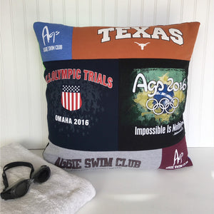 Texas Swim Team T-shirt Pillow Cover by Moss Re-Creations - 24 X 24 Pillow Size