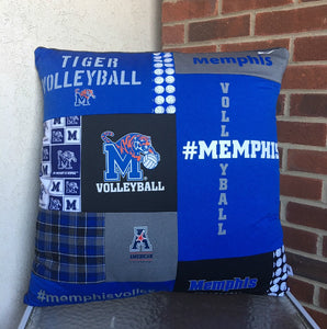 "27 X 27"" -  T-Shirt Sports Pillow Cover - Memphis Volleyball Pillow - Moss Re-Creations"
