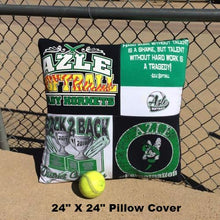 Load image into Gallery viewer, High School Softball T-shirt Pillow Cover by Moss Re-Creations