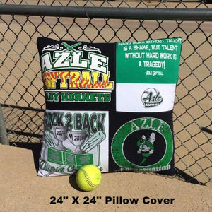 High School Softball T-shirt Pillow Cover by Moss Re-Creations