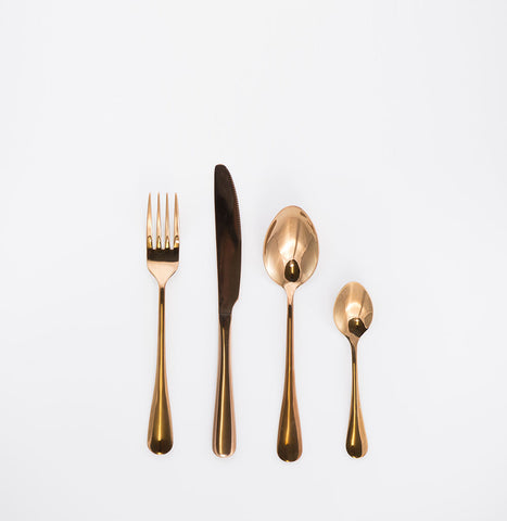 24pcs Cutlery Dinning Set Shiny Rose Gold