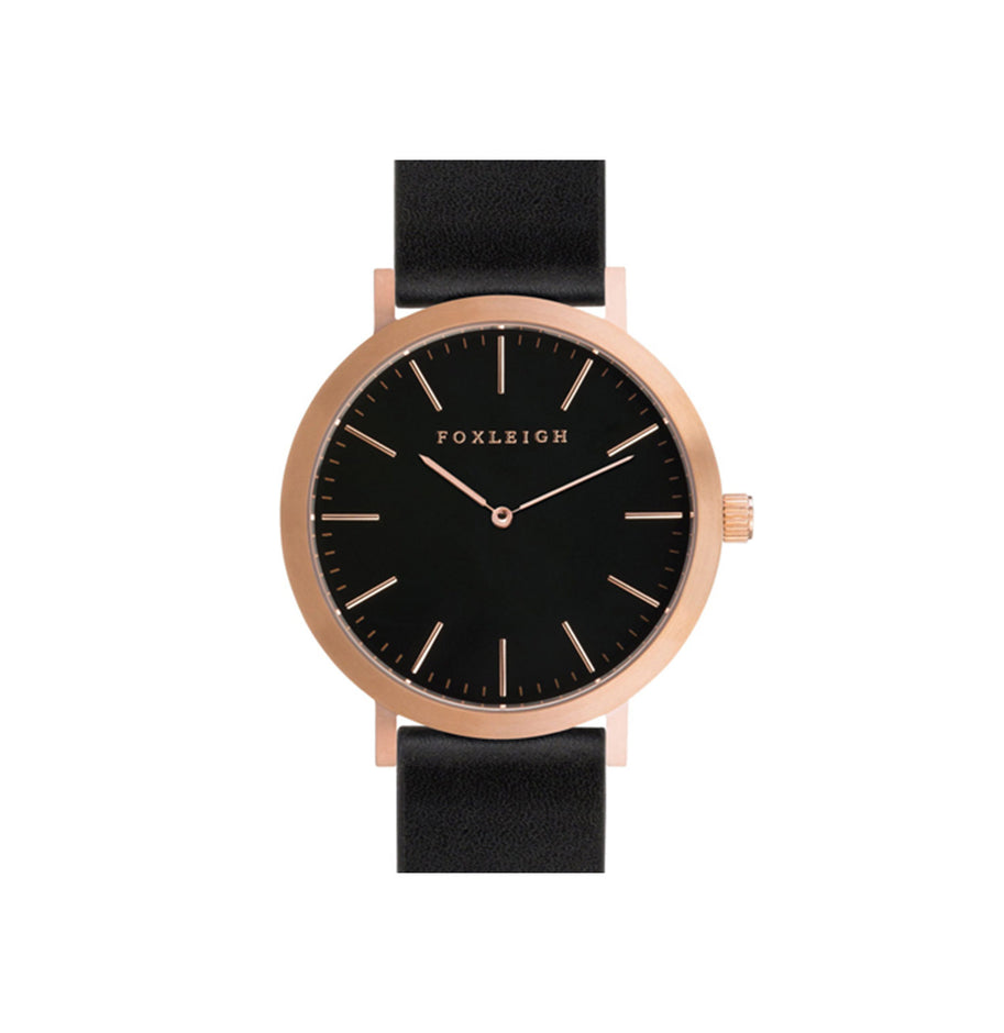 Rose Gold & Black Leather Watch