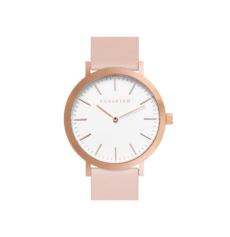 Rose Gold & Peach Leather Watch