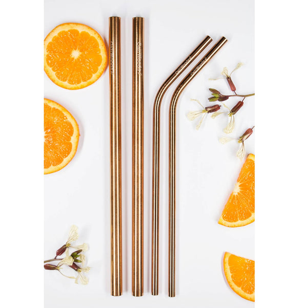 Reusable Rose Gold Straws