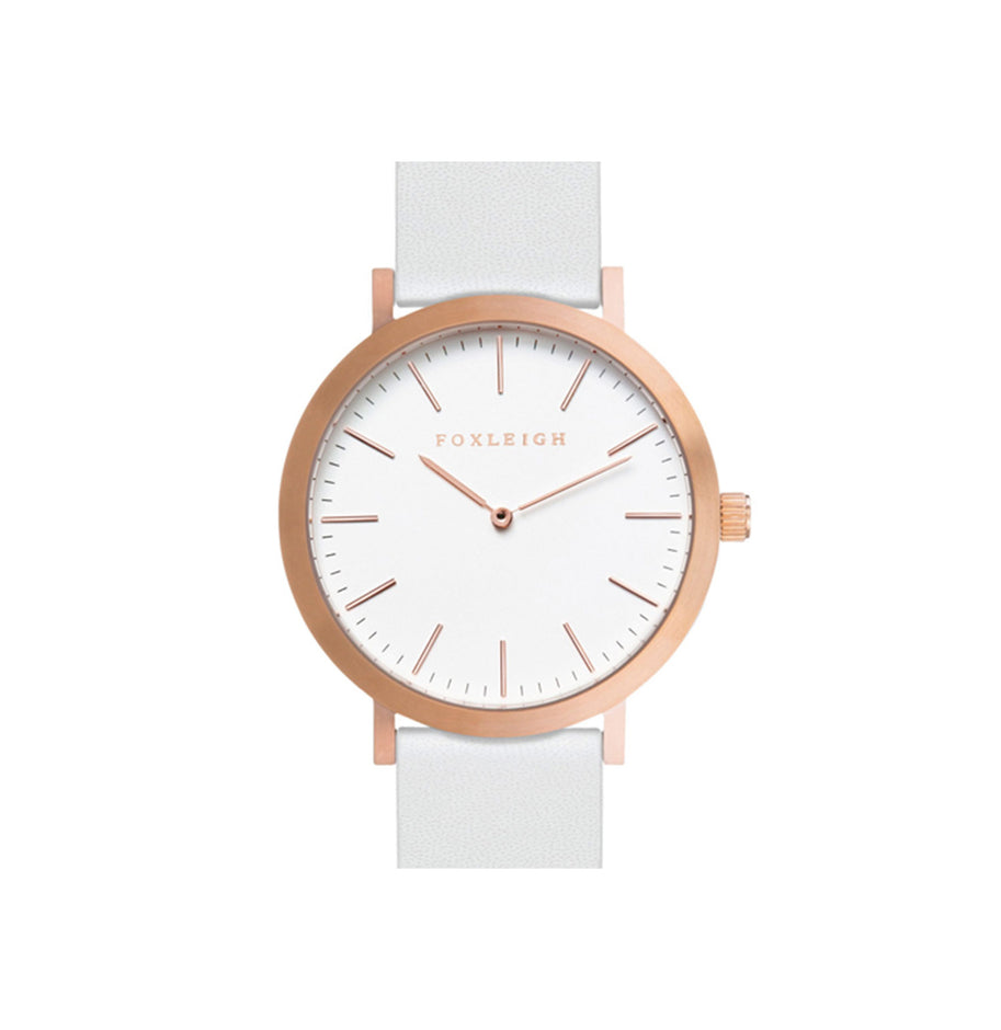 Rose Gold & White Leather Watch