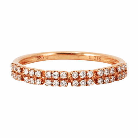 0.21ct Double Row Round Diamonds in 14K Gold Skinny Stackable Ring