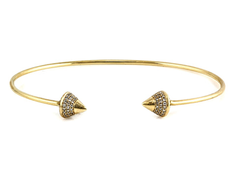 0.34ct Pavé Diamonds in 14K Yellow Gold Spike Cuff Bracelet
