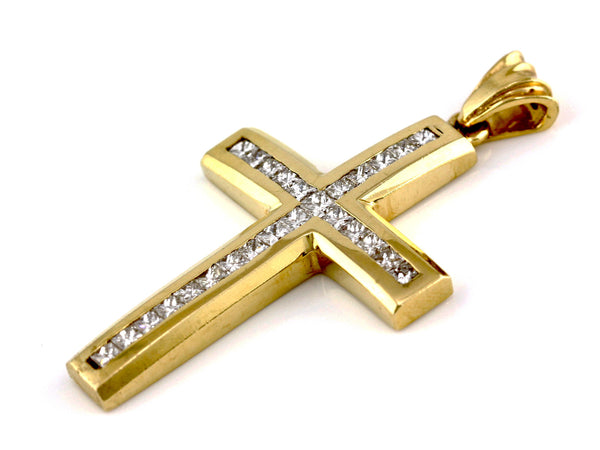 2.50ct Diamonds in 14K Yellow Gold Large Chunky Cross Pendant