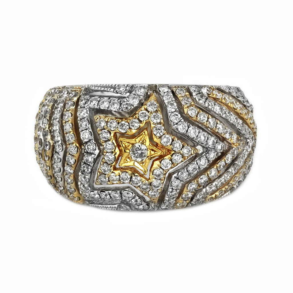 1.00ct Round Diamonds in 14K 2-Tone Gold Star Band Ring