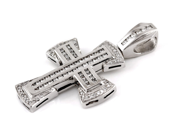 3.00ct Channel Round Diamonds in 14K White Gold Large Chunky Cross Pendant