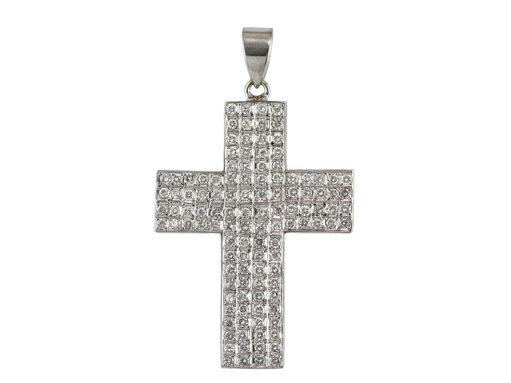 4.00ct Round Diamonds in 14K White Gold Large Chunky Cross Pendant
