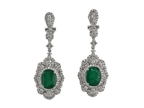 7.88ct Oval Zambian Emerald with Diamonds in 18K White Gold Dangle Earrings
