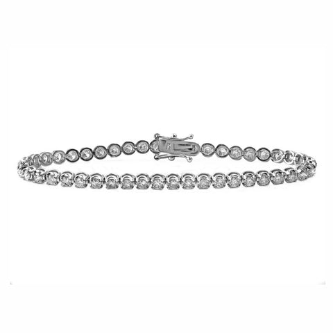 4.00ct Round Diamonds in 18K White Gold 3.5mm Tennis Bracelet - 7""