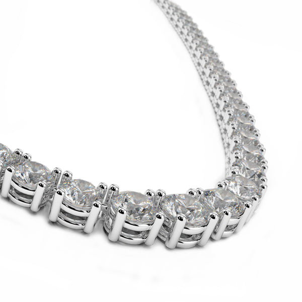 10.90tcw Round Diamonds in 18K White Gold Tennis Necklace 16.5""