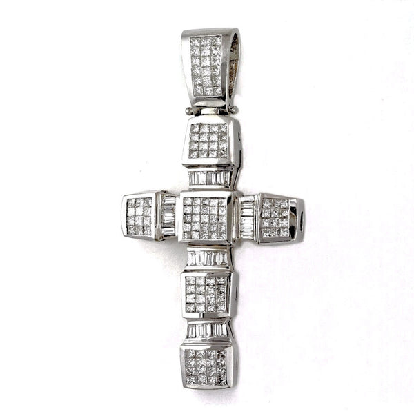 8.30ct Princess & Baguette Diamonds in 18K White Gold Heavy Large Chunky Cross Pendant