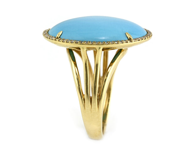 10.42ct Round Turquoise with Diamonds in 18K Yellow Gold Cocktail Ring