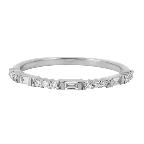 0.18ct Round & Baguette Diamonds in 14K Gold Skinny Stackable Band Ring