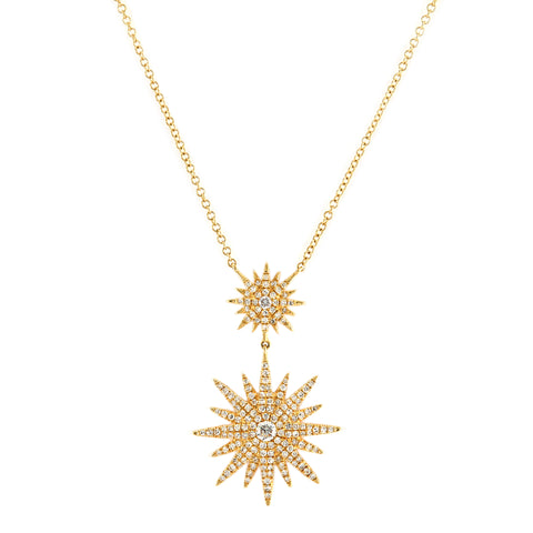 0.52tcw Diamonds in 14k Gold Sunburst Pendant Necklace 18""