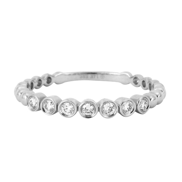 0.13ct Bezel Set Round Diamonds in 14K Gold Skinny Stackable Band Ring