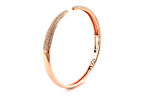 0.99ct Pavé Diamonds in 14K Gold Single Claw Bangle Cuff Bracelet - 6.5""