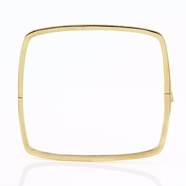 0.39ct Channel Pavé Diamonds in 14K Gold Square Bangle Bracelet - 6.5""
