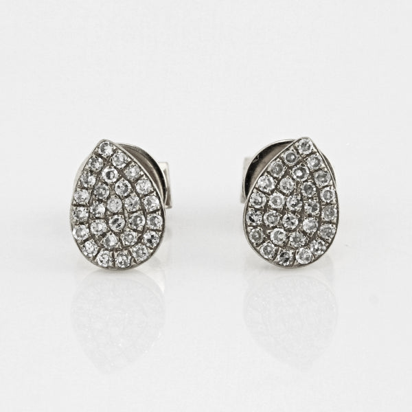 0.16ct Round Pavé Diamonds in 14K Gold Tear Drop Stud Earrings