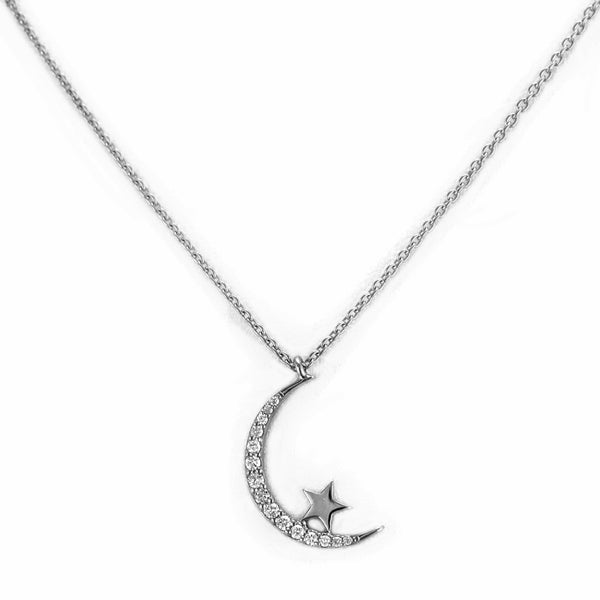 0.13ct Round Diamonds in  14K Gold Crescent Moon & Star Charm Necklace