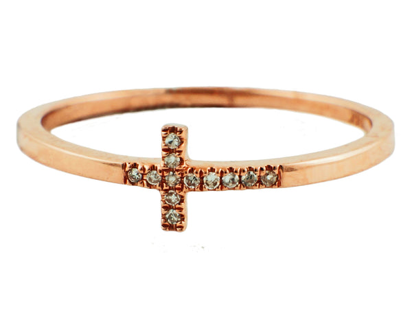 0.03ct Round Micro Pave Diamonds 14K Rose Gold Mini Cross Band Ring