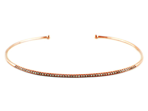 0.16ct Pavé Diamond in 14K Rose Gold Skinny Stackable Cuff Bracelet 6.5""