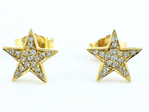 0.09ct Micro Pavé Round Diamonds in14K Gold Star Stud Earrings - 8mm