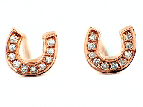 0.04ct Micro Pave Diamond in 14K Gold Horseshoe Stud Earrings