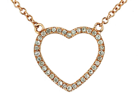 0.10ct Round Pave Diamonds in 14K Gold Heart Pendant Necklace
