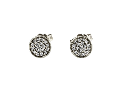 0.11ct Micro Pavé Round Diamonds in 14K Gold Round Stud Earrings